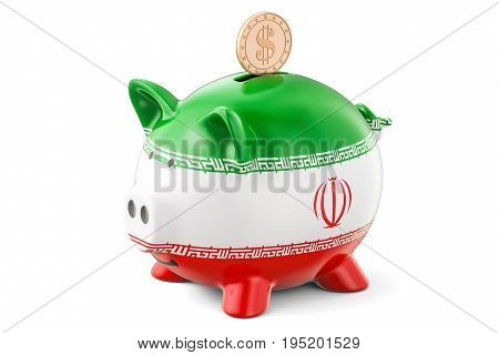 Piggy bank with flag of Iran and golden dollar coin. Investments and business concept 3D rendering