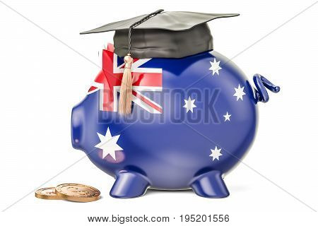 Savings for education in Australia concept 3D rendering isolated on white background