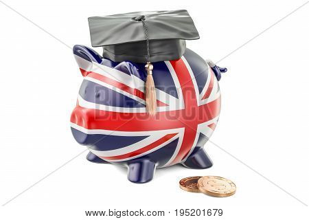 Savings for education in Great Britain concept 3D rendering isolated on white background