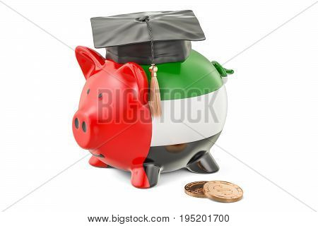 Savings for education in UAE concept 3D rendering isolated on white background