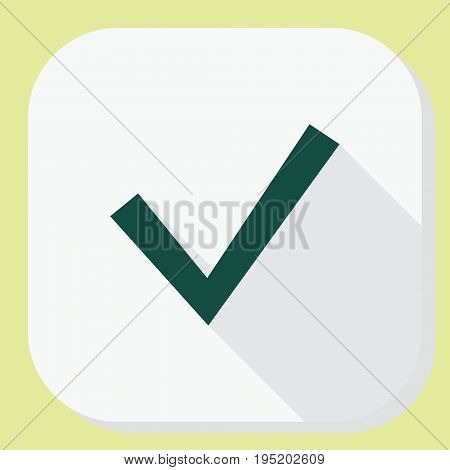 Check tick icon with long shadow. Application interface information and notification design. illustration.