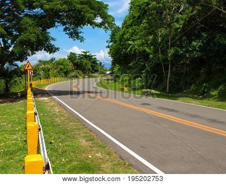 Summer landscape with road and green forest. Roadtrip in sunny day. Sunshine on road. Summer travel poster template. Tropic island journey. Empty highway in greenery. Vacation travel vehicle drive