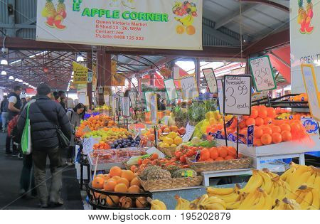 MELBOURNE AUSTRALIA - JULY 2, 2017: Unidentified people visit Queen Victoria Market in Melbourne. Queen Victoria Market is the largest open air market in the Southern Hemisphere.