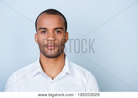 Successful Young Handsome Mulatto American Guy Lawyer In Formal Outfit Standing On Pure Background.