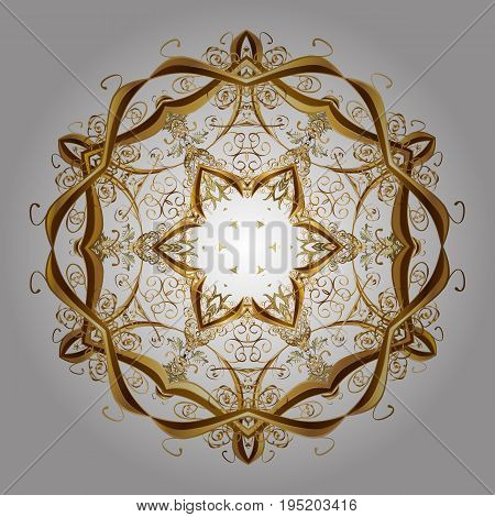 Textile print for bed linen jacket package design fabric and fashion concepts. Vector background. Abstract golden snowflakes design. Snowflakes with watercolor effect.