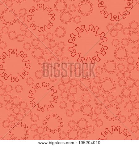 Terracota Seamless Flower Mandala For Print On Textile, Fabric, Coloring Books And Abstract Backgrou