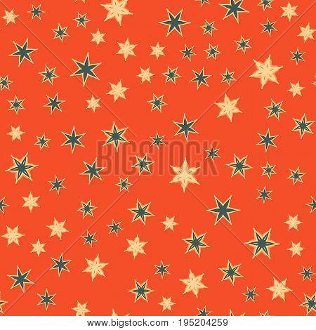 Stylized stars or flowers tile. Seamless stars pattern Print