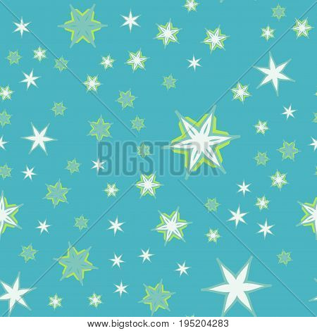 Azure Color Print Vector stars background seamless design