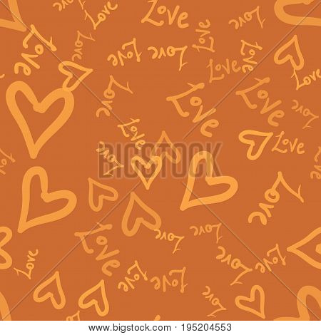Doodle romantic seamless pattern with doodle love worlds and hearts.