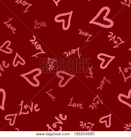 Hand-drawn seamless background with pink hearts and love doodles.