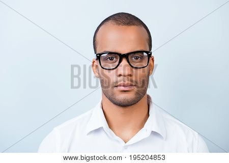 Successful Young Handsome Mulatto American Guy Banker In Formal Outfit On Pure Background In Glasses