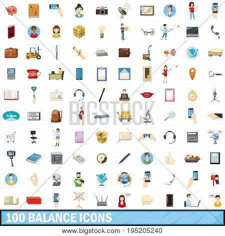 100 balance icons set in cartoon style for any design vector illustration