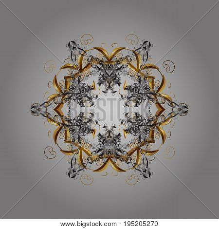 Snowflake ornamental pattern. Vector snowflakes background. Flat design of snowflakes isolated on gray background. Snowflakes pattern.