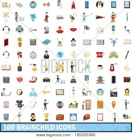 100 brainchild icons set in cartoon style for any design vector illustration