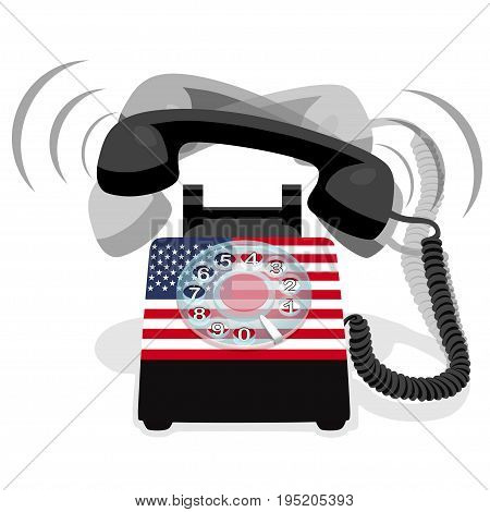 Ringing black stationary phone with rotary dial and flag of USA. Vector illustration.
