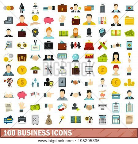 100 business icons set in flat style for any design vector illustration