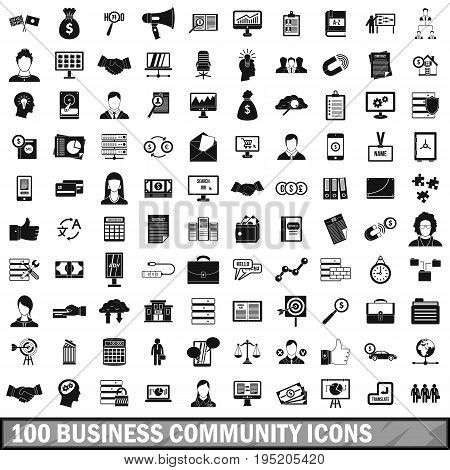 100 business community icons set in simple style for any design vector illustration