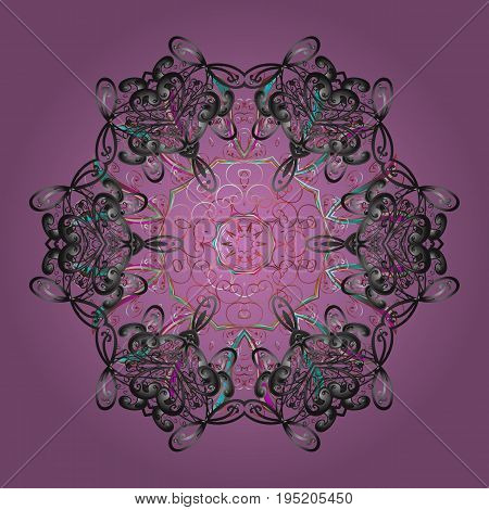 Beautiful vector snowflakes isolated on a colorful background. Snowflakes snowfall. Falling Christmas stylized snowflakes. Illustration.
