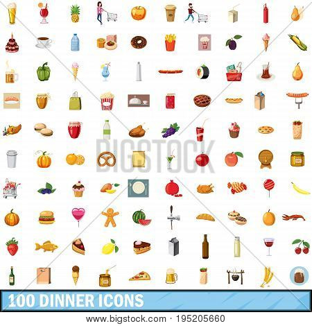 100 dinner icons set in cartoon style for any design vector illustration