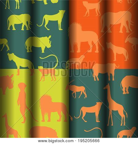 Set with Four Bright Seamless Pattern with African Savannah Animals Performed in Blank Simplistic Manner. Ideal for Paper or Fabric Print and Web Usage. Vector EPS 10