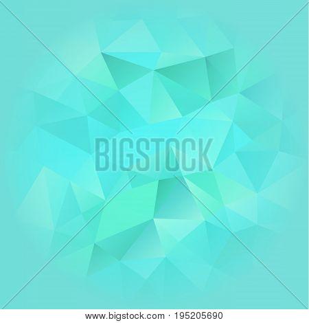 Turquoise Blue Poligonal  Background Blurred on the Edges. Vector EPS 10