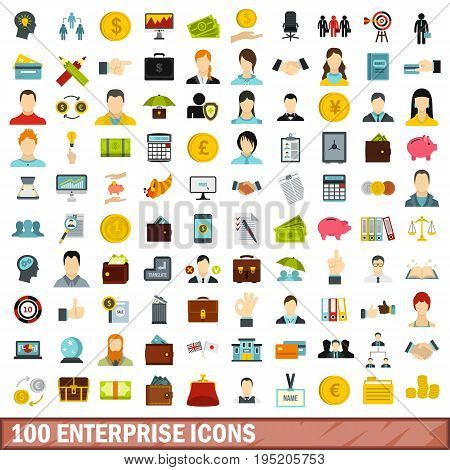 100 enterprise icons set in flat style for any design vector illustration
