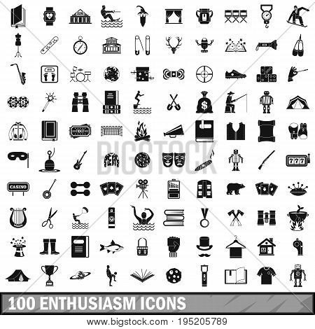 100 enthusiasm icons set in simple style for any design vector illustration