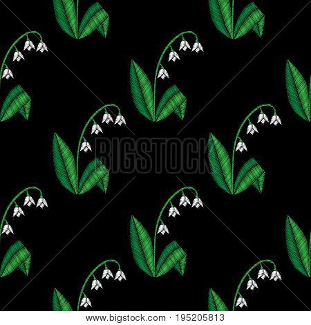 Embroidery stitches imitation floral seamless pattern with little lilies of the valley flowers. Vector traditional embroidery folk fashion ornament on black background.