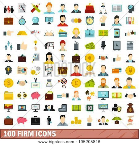 100 firm icons set in flat style for any design vector illustration
