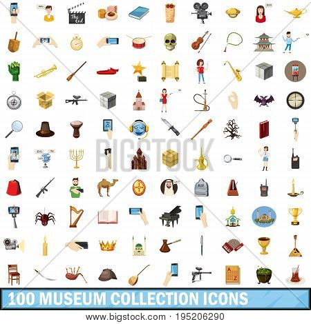 100 museum collection icons set in cartoon style for any design vector illustration