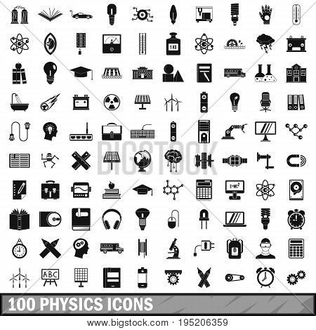 100  physics set in simple style for any design vector illustration