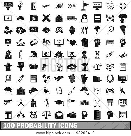 100 probability icons set in simple style for any design vector illustration