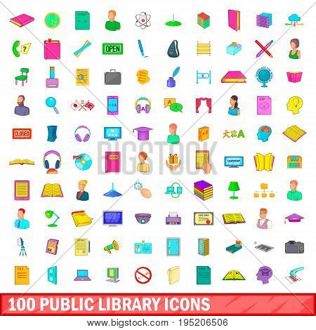 100 public library icons set in cartoon style for any design illustration