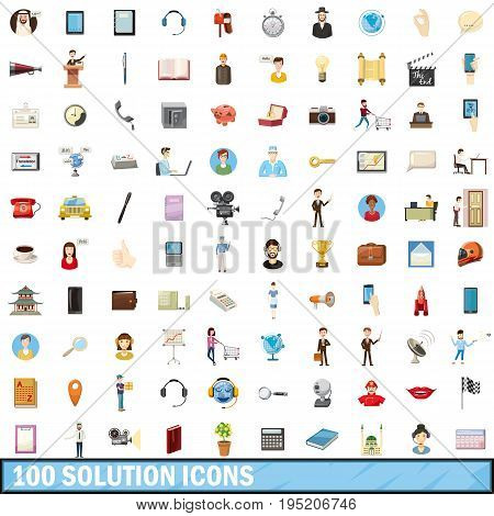 100 solution icons set in cartoon style for any design vector illustration