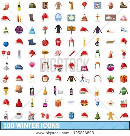 100 winter icons set in cartoon style for any design vector illustration