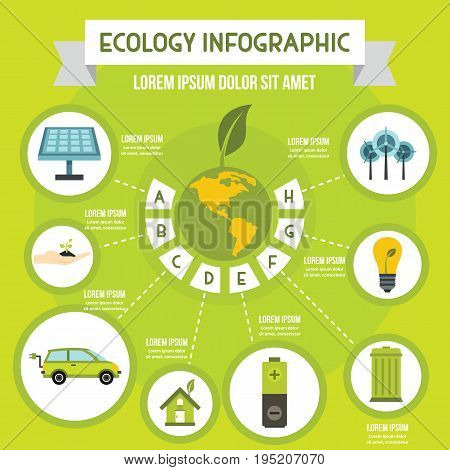 Ecology infographic banner concept. Flat illustration of ecology infographic vector poster concept for web