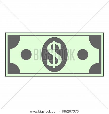 Money dollar icon on white background. Vector illustration.
