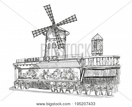Cabaret Moulin Rouge (Landmark of Paris France) vector isolated hand drawing illustration in black color on white background
