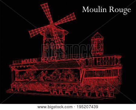 Cabaret Moulin Rouge (Landmark of Paris France) vector isolated hand drawing illustration in red color on black background