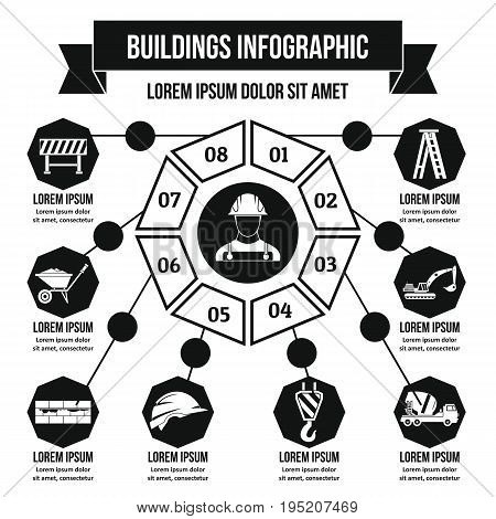 Buildings infographic banner concept. Simple illustration of buildings infographic vector poster concept for web