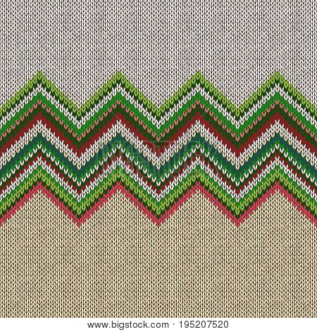 Seamless ethnic geometric knitted pattern. Style green beige pink white red background