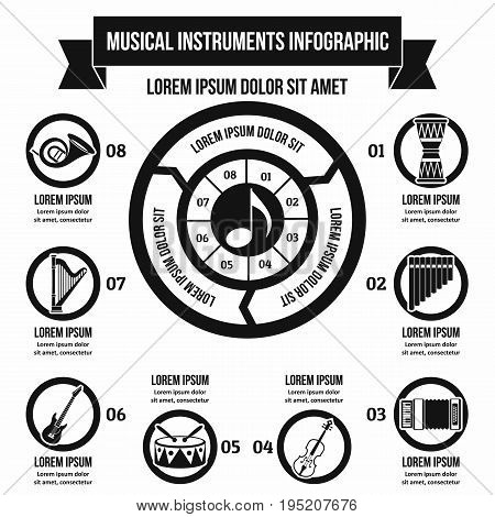 Musical instruments infographic banner concept. Simple illustration of musical instruments infographic vector poster concept for web