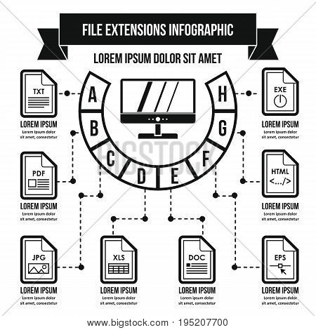 File extensions infographic banner concept. Simple illustration of file extensions infographic vector poster concept for web