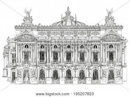 Grand opera Opera Garnier (Landmark of Paris France) vector isolated hand drawing illustration in black color on white background