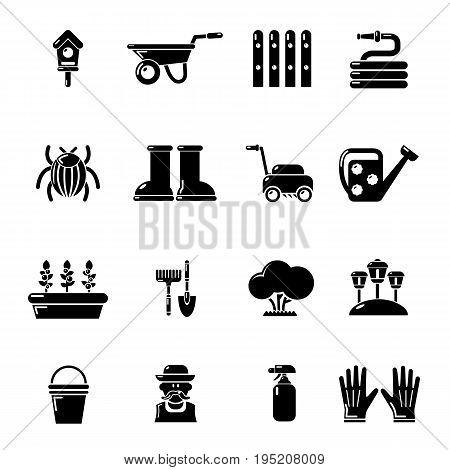 Gardener icons set. Simple illustration of 16 gardener vector icons for web