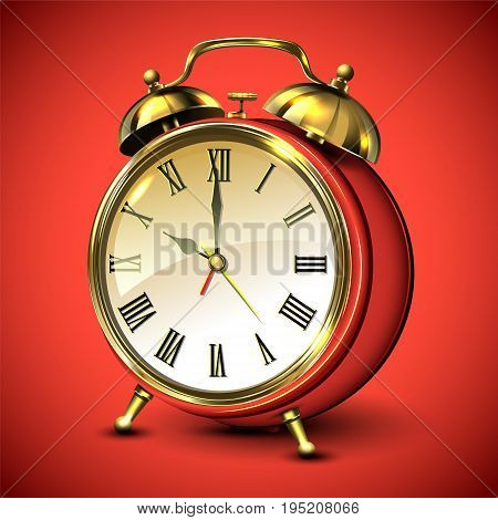 Red retro style alarm clock on red background. Vector illustration.