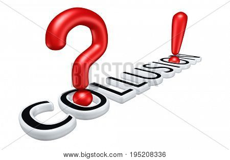 Collusion With A Question Mark And Exclamation Mark 3D Illustration