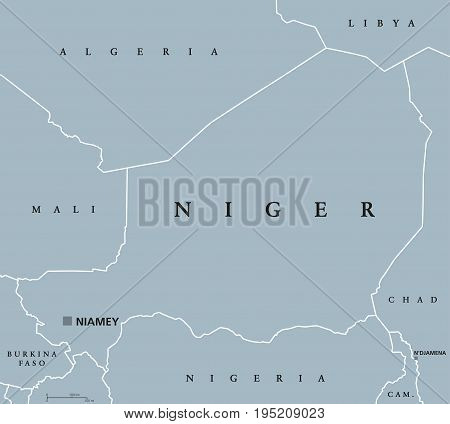 Niger political map with capital Niamey, international borders and neighbors. Republic and landlocked country in West Africa. Gray illustration. English labeling. Vector.