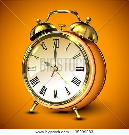 Orange retro style alarm clock on orange background. Vector illustration.