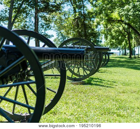 Focus on first muzzle of civil war cannons at Harpers Ferry in West Virginia